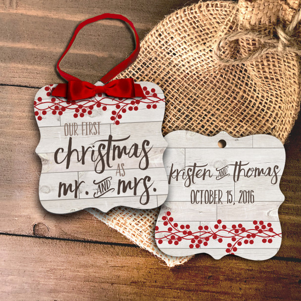 First Christmas mr and mrs rustic ornament