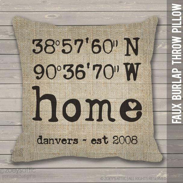 Home latitude longitude faux burlap throw pillow