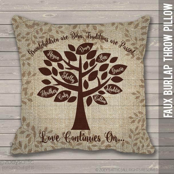 Family tree grandchildren faux burlap throw pillow