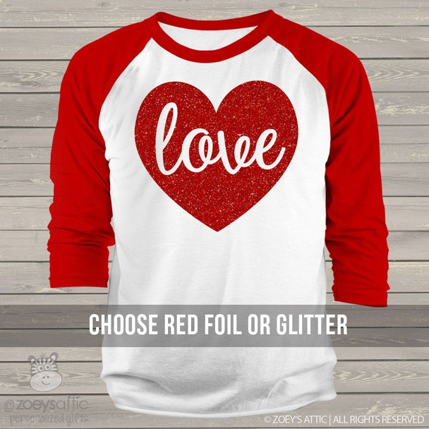Valentine love sparkly heart ADULT raglan shirt