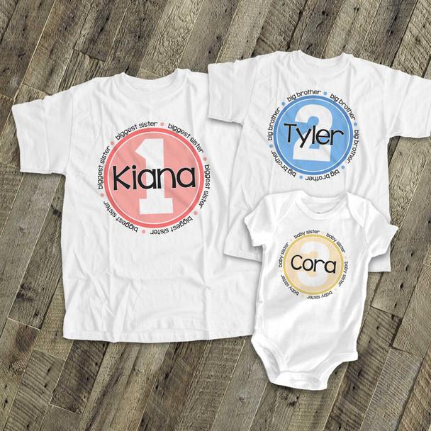 Brother or sister matching simple circle set of three sibling Tshirts