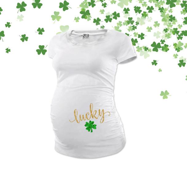 St. Patrick's Day lucky glitter maternity top