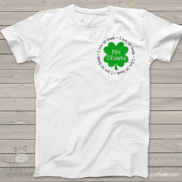 Shamrock personalized teacher shirt