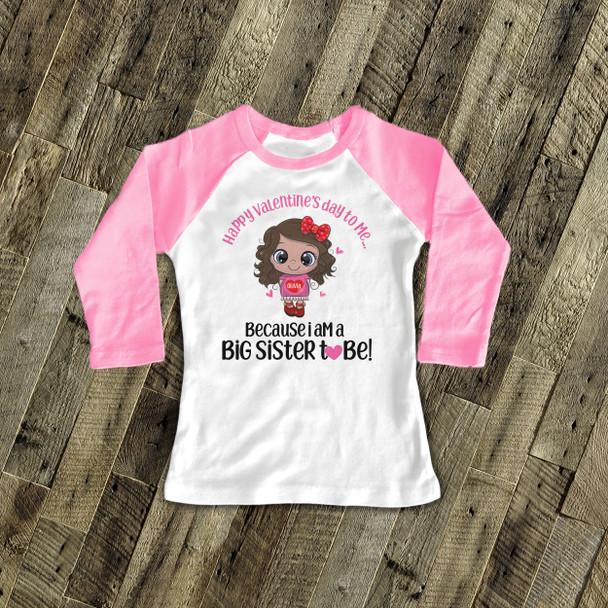 Big sister to be Valentine's Day pink dress pregnancy announcement raglan Tshirt