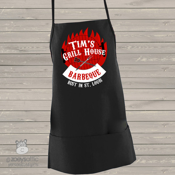 Barbecue personalized BLACK apron