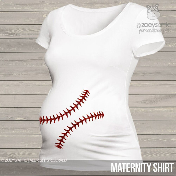 Sparkly baseball belly maternity top