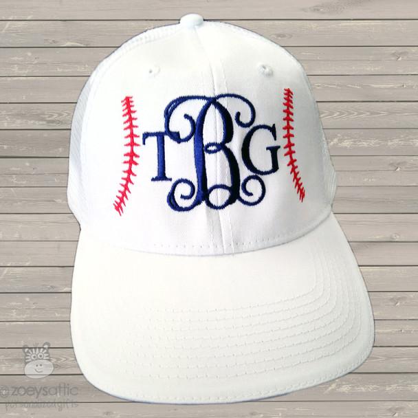 Embroidered monogram baseball hat