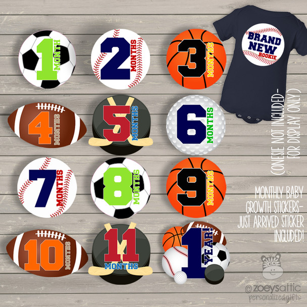 Monthly baby onesie stickers sports