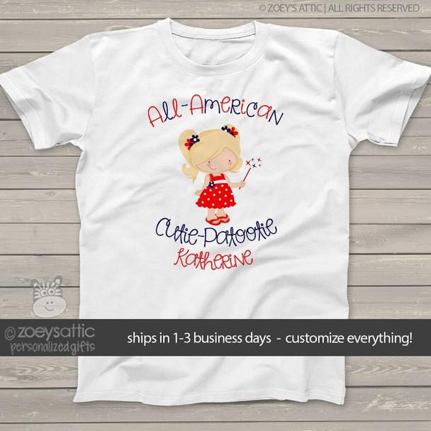 All American cutie girls personalized Tshirt