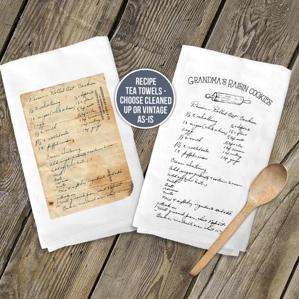 Flour sack tea towel personalized keepsake recipe