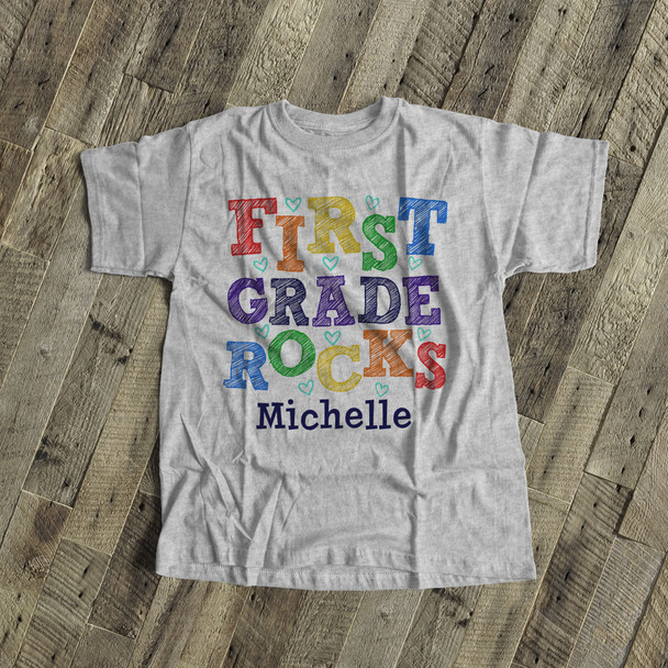 Student first grade rocks colorful personalized Tshirt