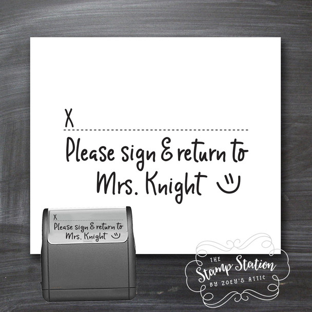 Teacher sign and return self inking stamp
