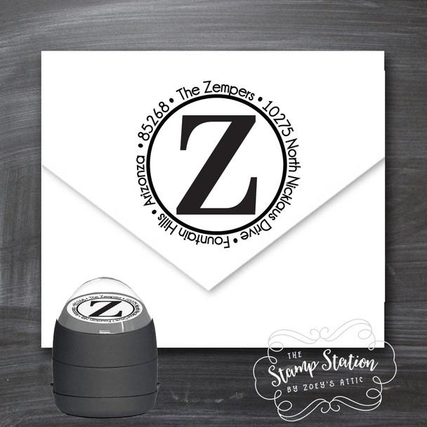Initial round address self inking stamp