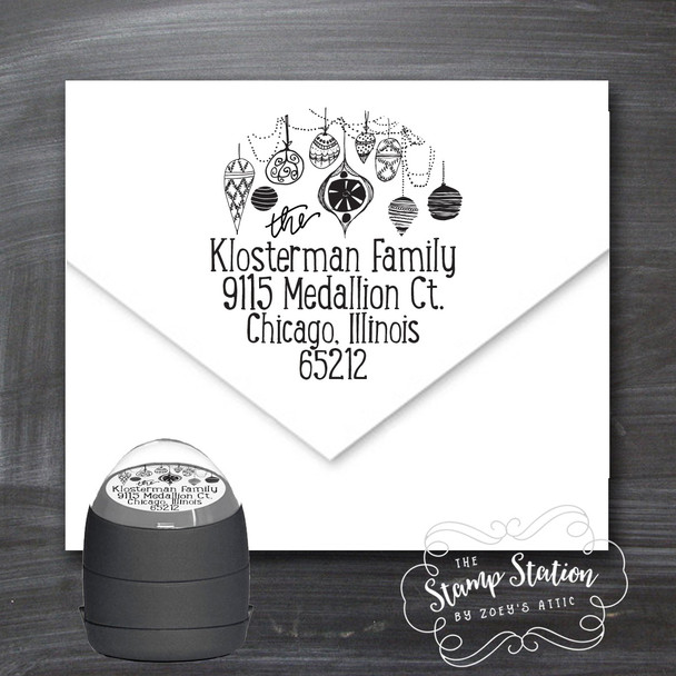 Ornament Christmas card return address self inking stamp