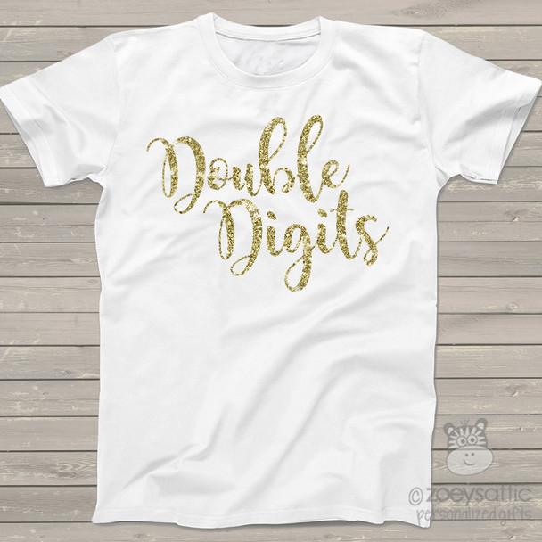 Tenth birthday double digits sparkly glitter Tshirt