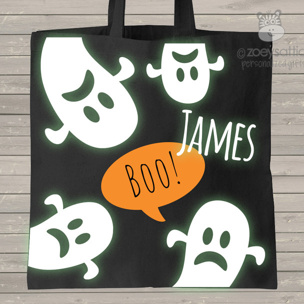 Halloween ghost glow in the dark trick or treat bag