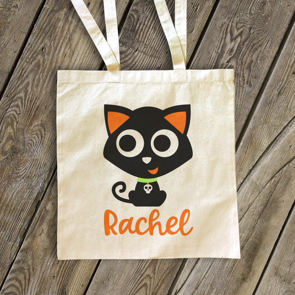 Halloween black cat trick or treat bag