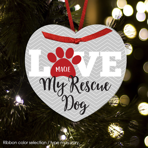Christmas ornament love rescue dog