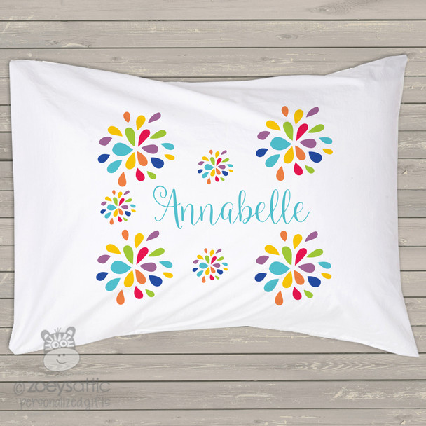 Bright colorful flowers girl personalized pillowcase / pillow