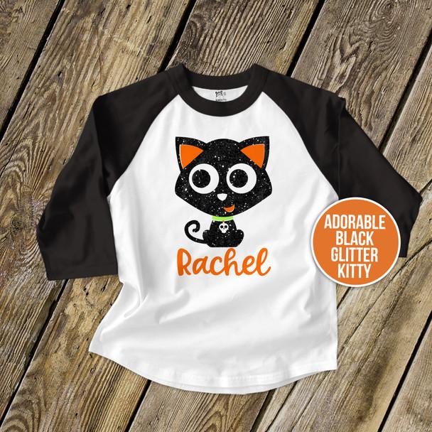 Halloween black cat glitter GIRLS raglan shirt