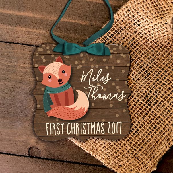 Baby's first Christmas woodland fox boy or girl personalized ornament