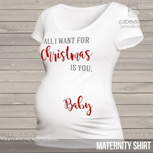 All I want for Christmas baby glitter maternity top