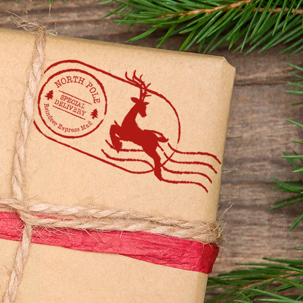 North Pole Christmas postage return self inking stamp