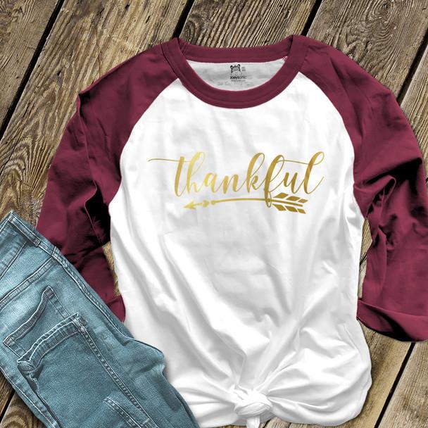 Thankful arrow gold foil or glitter ADULT raglan shirt