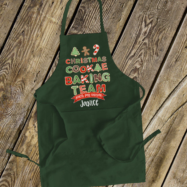 Holiday baking team adult dark apron