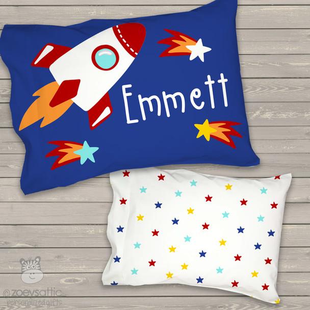 Toddler travel pillow personalized rocket spaceship