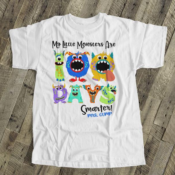 Teacher 100 days smarter monsters Tshirt