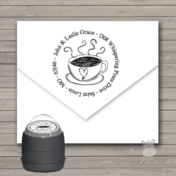 Coffee lovers round address self inking stamp