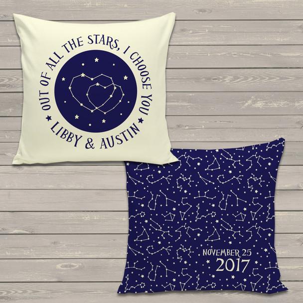 Wedding couple constellation stars throw pillow