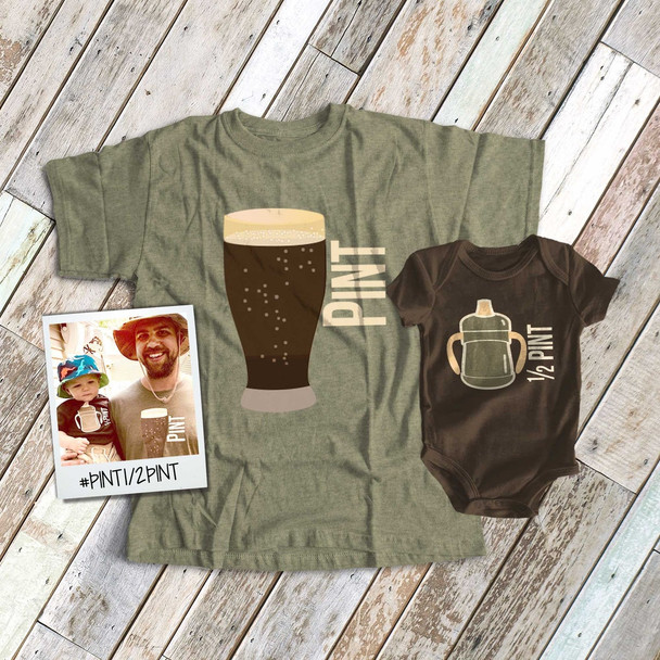 Pint and half pint matching DARK shirt gift set
