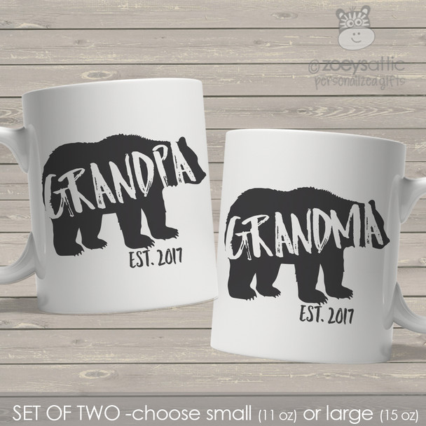 Grandpa and Grandma established bear coffee mug set of two