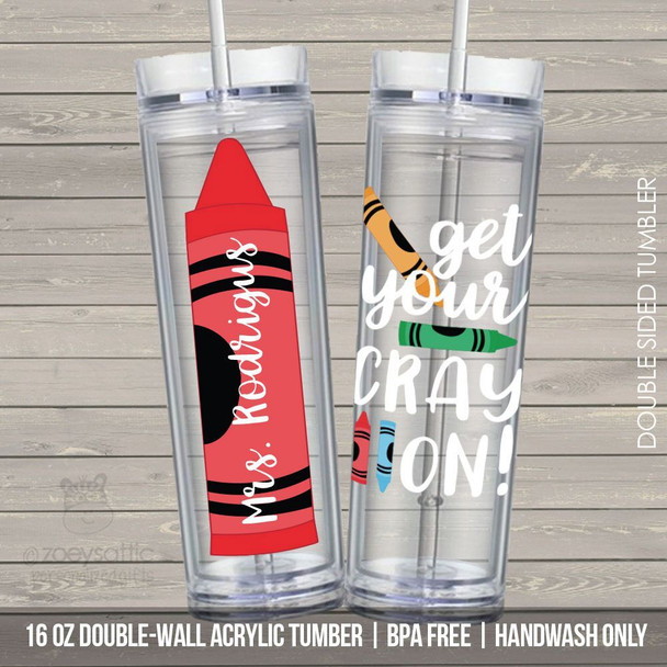 Teacher gift get your crayon tall skinny clear acrylic tumbler