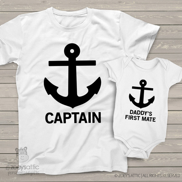 Captain daddy's first mate matching shirt gift set