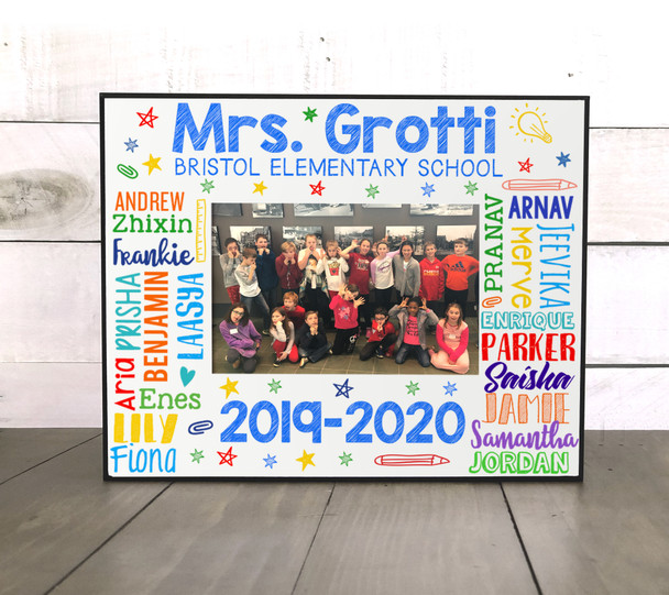 Teacher student names personalized class photo frame