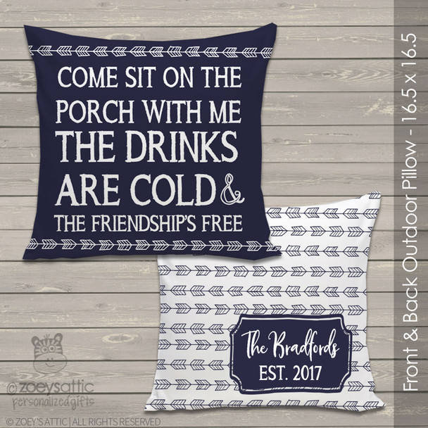 Come sit on the porch with me outdoor porch pillow
