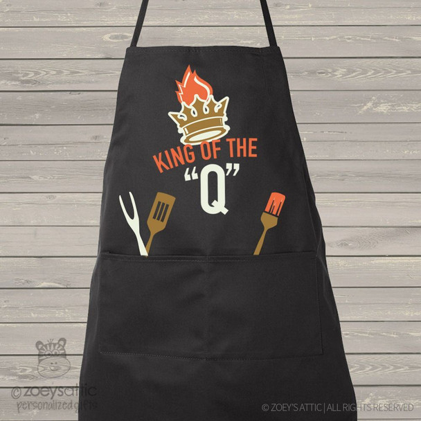 King of the Q custom dark apron