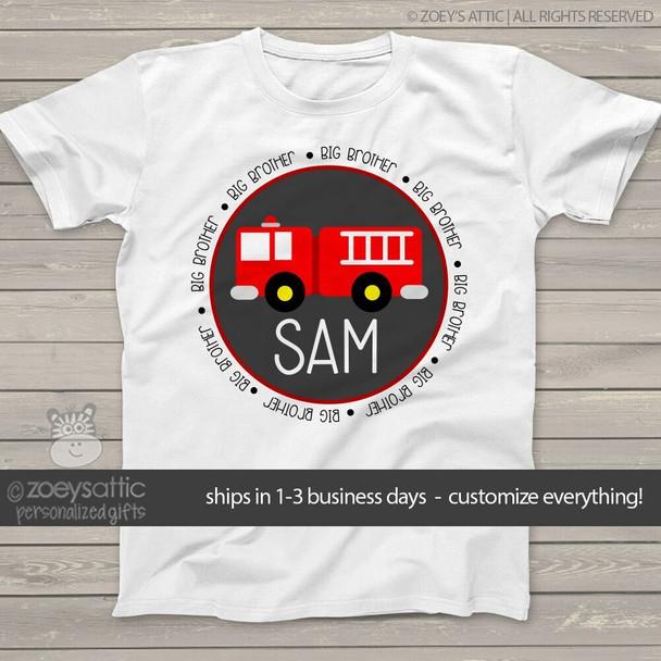 Big brother shirt fire truck Tshirt