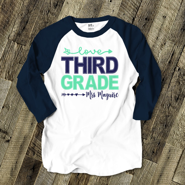 Teacher faux stitch any grade personalized adult raglan shirt