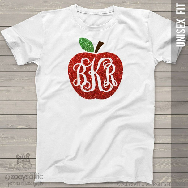 Apple monogram sparkly glitter ADULT Tshirt