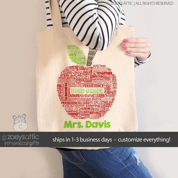 Teacher apple word collage  personalized tote bag
