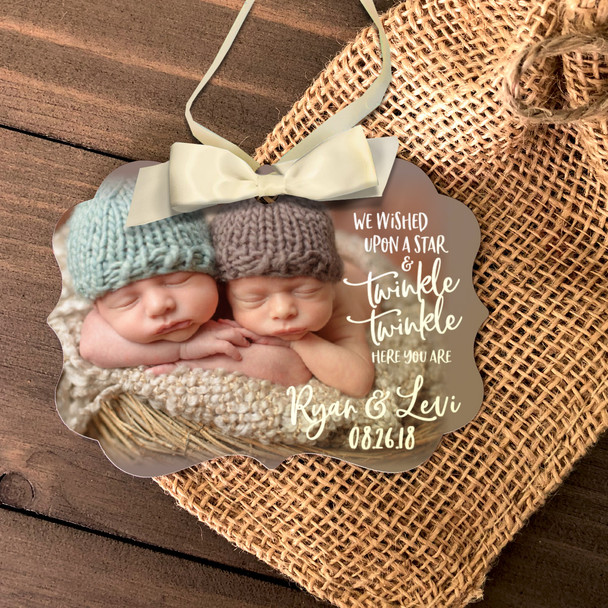 Twins First Christmas wished upon a star photo ornament