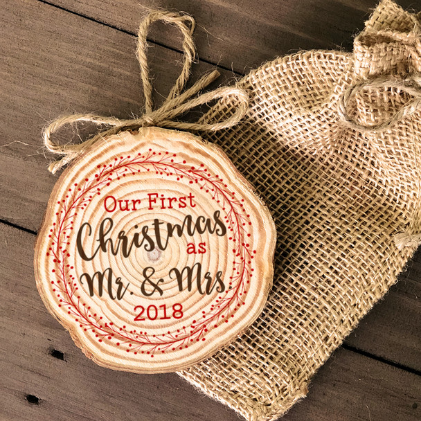 First Christmas mr & mrs holiday wreath wood slice ornament