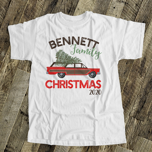 Retro family Christmas personalized Tshirt