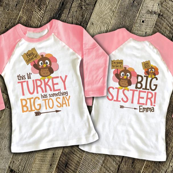 Thanksgiving big sister to be lil turkey pregnancy announcement raglan shirt