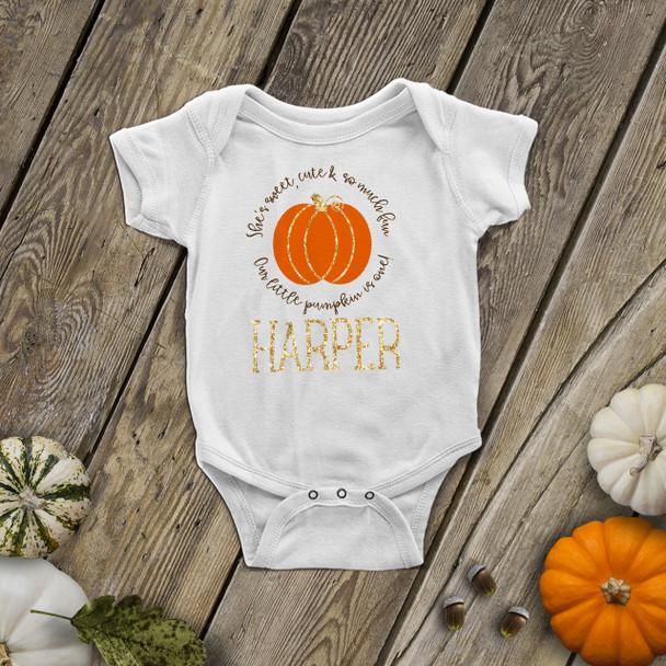 First birthday pumpkin gold glitter bodysuit or Tshirt