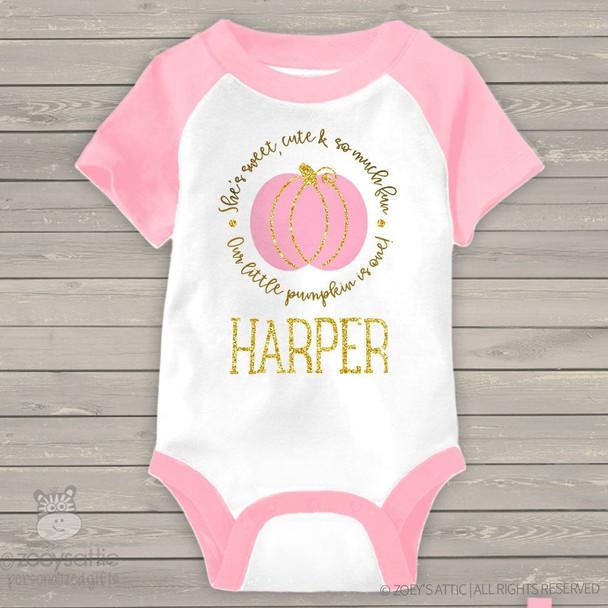 First birthday pink pumpkin gold glitter RAGLAN bodysuit
